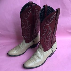 Vintage burgundy/cream Laredo leather boots